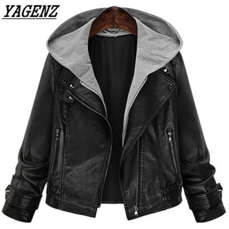 2018 New Spring PU   leather   Jacket Women's Loose Hooded Motorcycle Black Female Faux   Leather   Coat Large size Casual Jackets 5XL