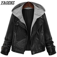 2018 New Spring PU Leather Jacket Women S Loose Hooded Motorcycle Black Female Faux Leather Coat