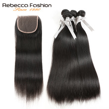 Rebecca 4 Bundles With Closure Non Remy Brazilian Straight Hair Menneskehår Weave Bundles With 4x4 Lace Closure Gratis Levering