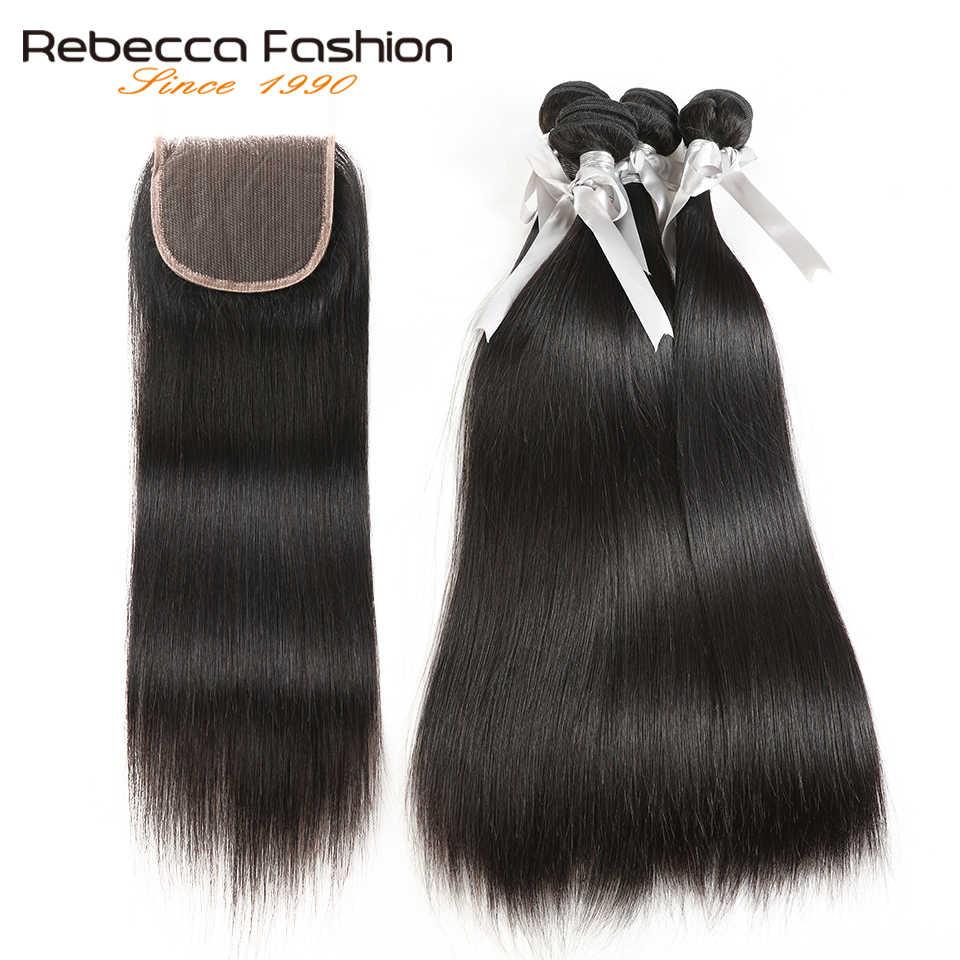 Rebecca прямые волосы 4 пучка с закрытием не Реми бразильские прямые волосы человеческие волосы плетение пучки с 4x4 кружева закрытие
