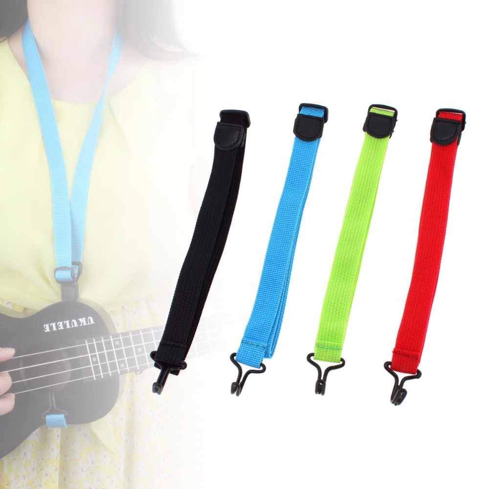 2pcs Adjustable Sling Durable Weaving Nylon Cloth Length 43-83cm Ukulele Strap with Hook For All Size Ukelele 4 color options
