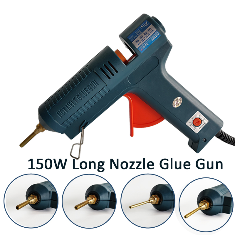 150W Long Copper Nozzle Hot Melt Glue Gun Adjustable Temperature for 11mm Glue Gun,EU AU USA UK plug with 5 pcs Glue Sticks g962 18 g962 1 8v gmt to252