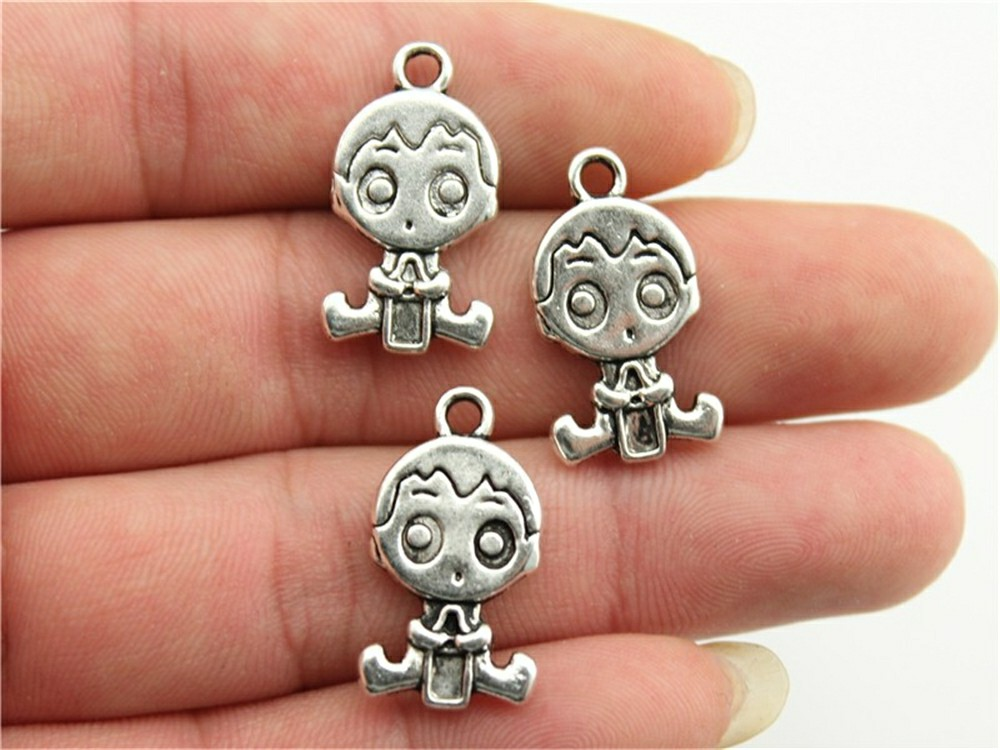 WYSIWYG 10pcs 24x13mm Double Sided Baby Boy With Feeding Bottle Charms, Handmade Jewelry Accessories, DIY Jewelry Findings