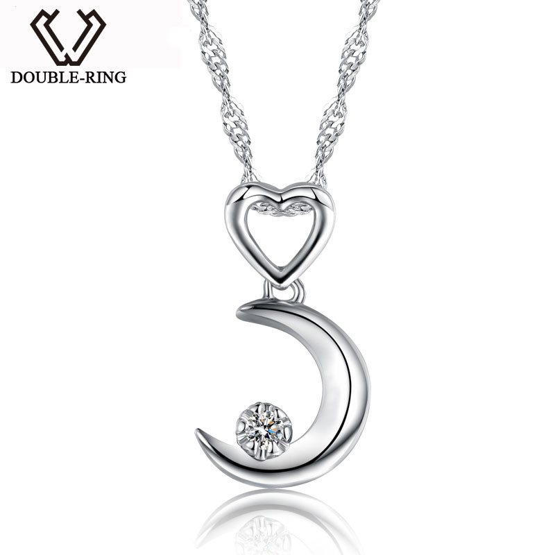 DOUBLE-R Moon Necklaces Pendants Women 0.03ct Diamond 925 Sterling Silver Pendants Anniversary Heart Jewelry Customized Gift Box double r women necklace pendants 0 03ct diamond 925 sterling silver pendants with long chains diamond jewelry cap03755sa 1