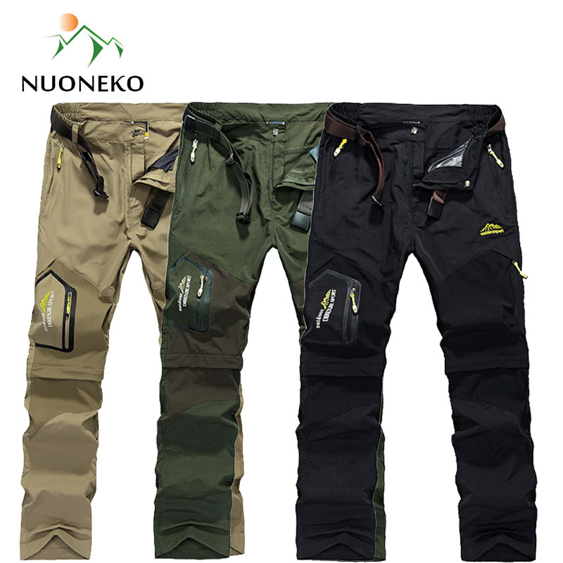 NUONEKO Quick Dry Removable Hiking Pants Outdoor 6XL Mens Summer Breathable Shorts Men Mountain Camping Trekking Trousers PN09