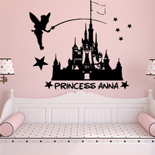 Custom princess anna Vinyl Self Adhesive Wallpaper For Baby Kids Rooms Decor Art Decals Bedroom Creative
