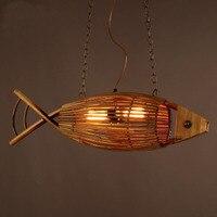 Wood Light Originality Fish Pendant Lamp,Rural Retro Restaurant Cafe Bar Hanging Light Personality Bamboo Weaving Pendant Lights