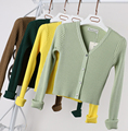Women's Short knit V-Neck Sweaters and  Cardigans Wool Elastic Spring and Autumn Sweater Slim Tight Bottoming Knitted Cardigan