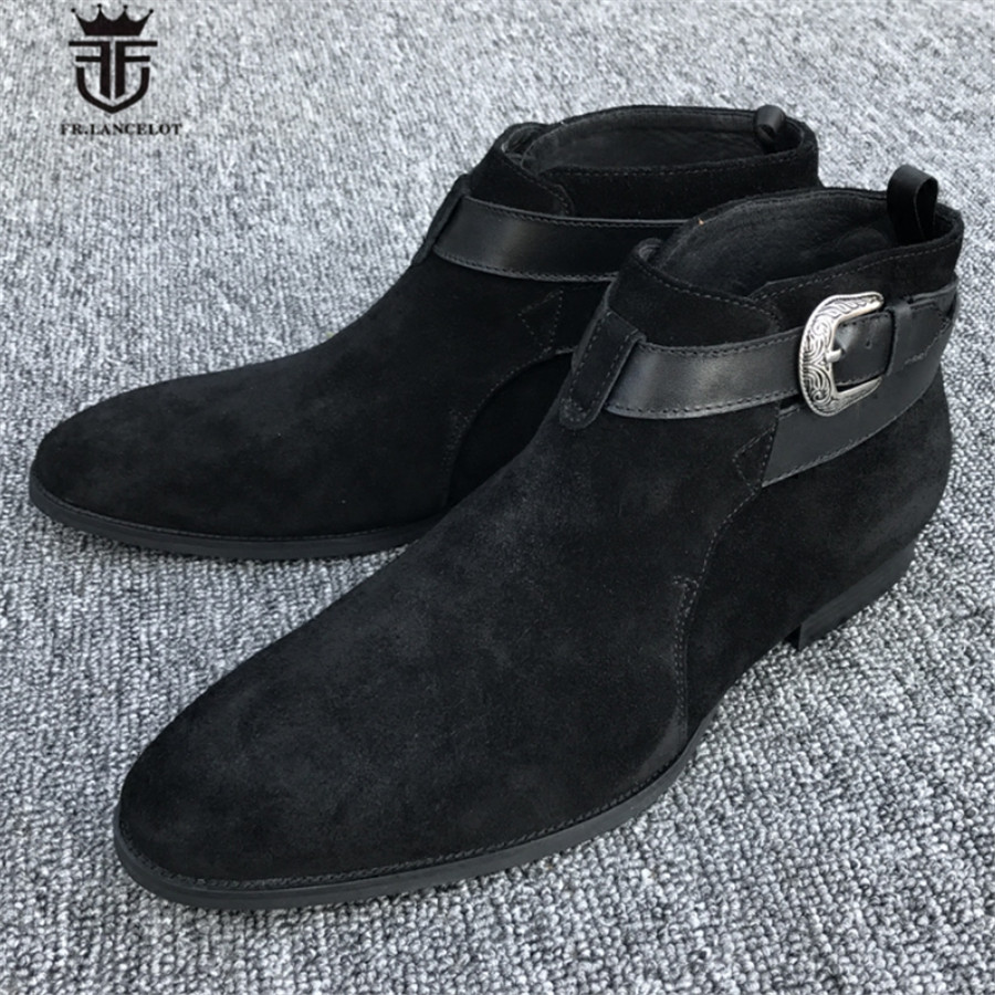 High End Handmade Genuine Leather Ankle Rivet Strap Wedding Dress Causal Boots Pointed Toed Stage Fashion Luxury Suede Men Boot 2017 luxury handmade pointed toe ankle fringe tassel short boots high end designed men genuine leather suede boots