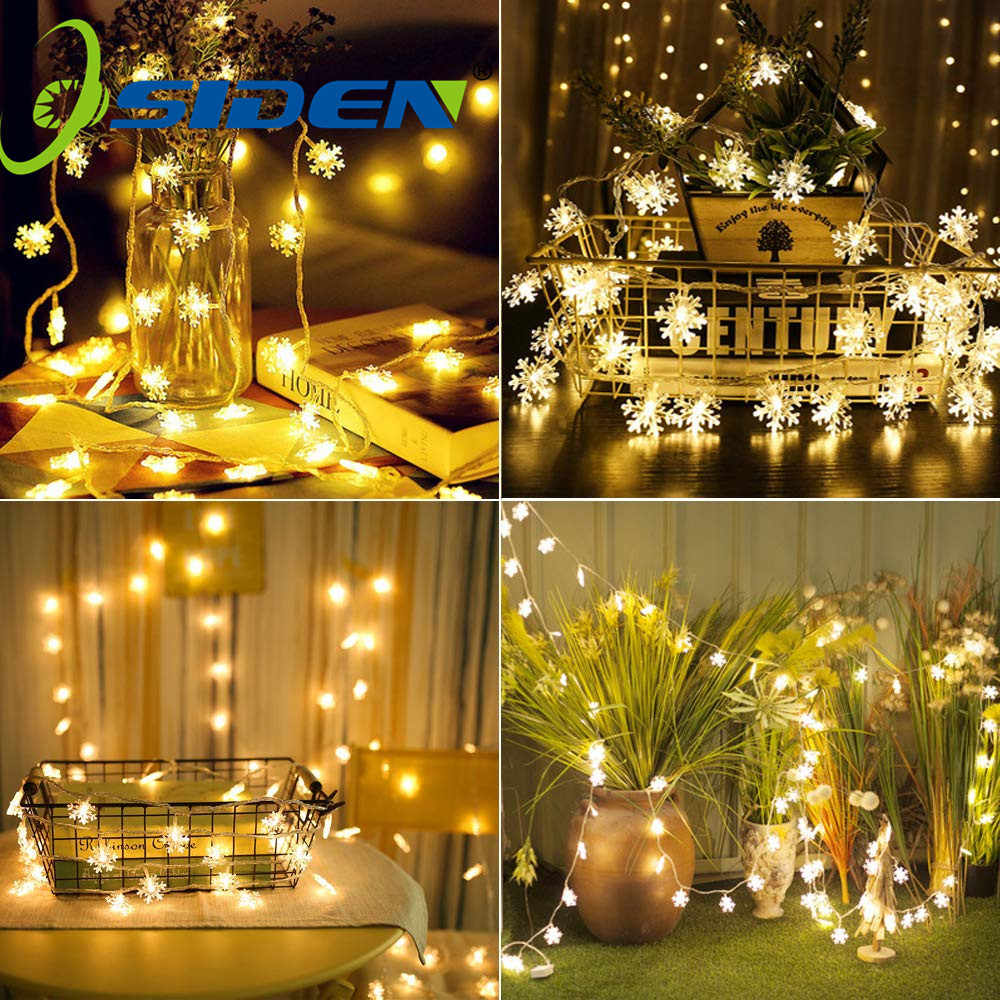 snowflake String Light Christmas 10/20/50LED Fairy Lights Outdoor AA BatteryUSB Powered Garland Lights Decorative Lighting