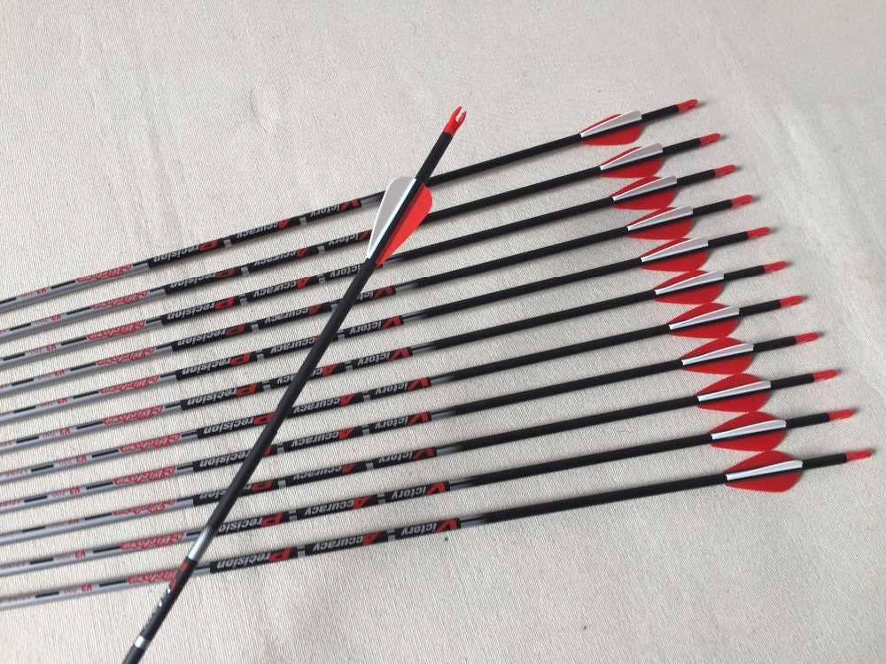 12pcs Carbon arrow spine700 ID4 2 120gain Stainless steel point 1 75 plastic arrow vane Pin