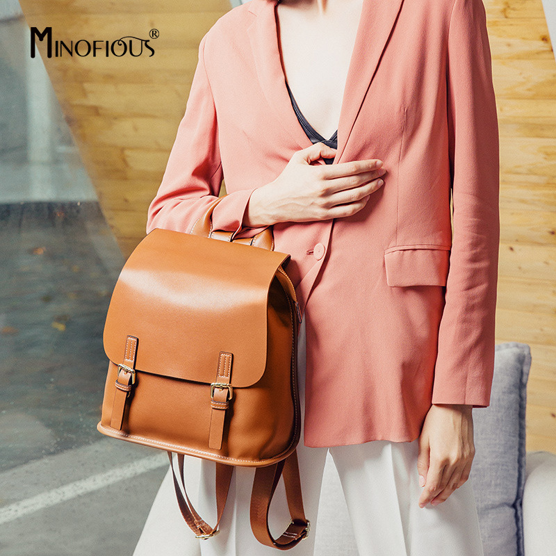 MINOFIOUS Genuine Leather Large Capacity Travel Backpack   Female Real Leather Solid Backpacks Fashion Casual Leather School BagMINOFIOUS Genuine Leather Large Capacity Travel Backpack   Female Real Leather Solid Backpacks Fashion Casual Leather School Bag