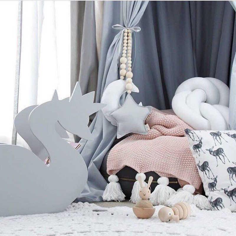 Nordic Деревянный бисерный орнамент двойной Звезда Луна Детская комната украшения Детские навес для детской кроватки висит кулон Настенный декор реквизит