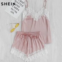 SHEIN Women Sleeping Wear Summer Sexy Pajama Sets Lace Trim Satin Spaghetti Strap Cami Top and Shorts Pajama Set