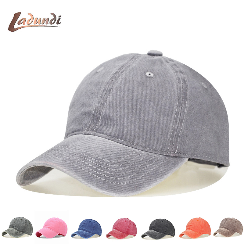 High quality Washed Cotton Adjustable Solid 12 color   Baseball     Cap   Unisex couple   cap   Fashion Leisure dad Hat Snapback   cap