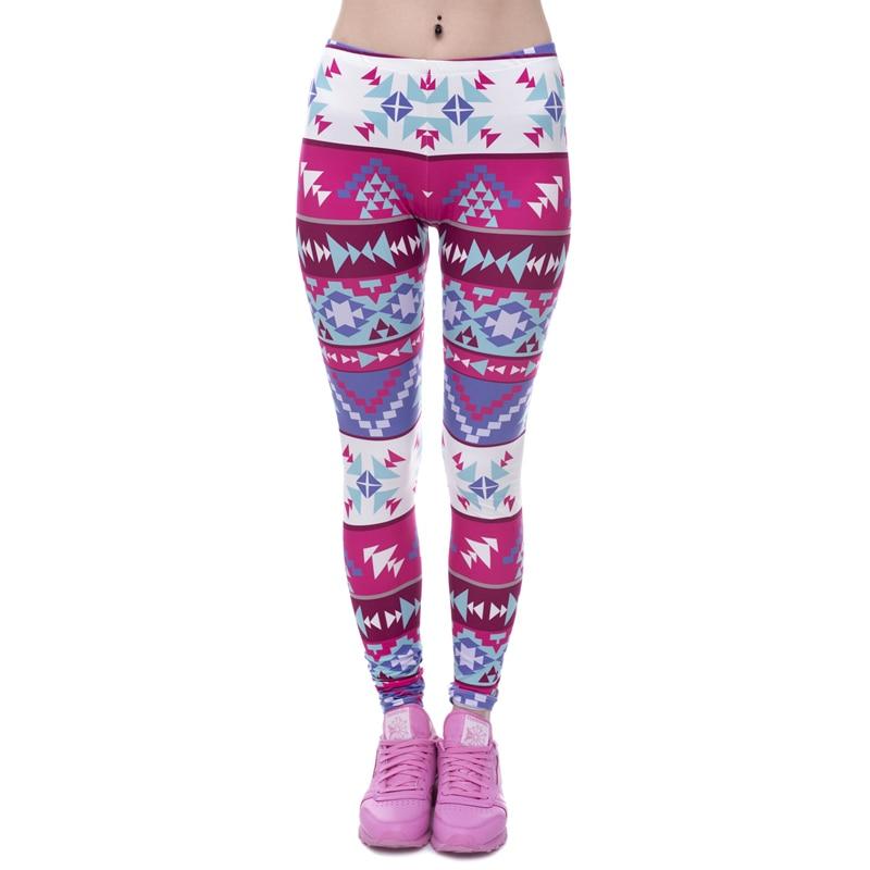Brands Women Fashion Legging Aztec Round Ombre Printing leggins Slim High Waist  Leggings Woman Pants 29