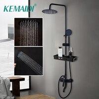 KEMAIDI смеситель для душа и ванной кран черный лейки для душа дождь-Ливень набор Однорычажный смеситель для ванны и душа кран с полкой для хран...