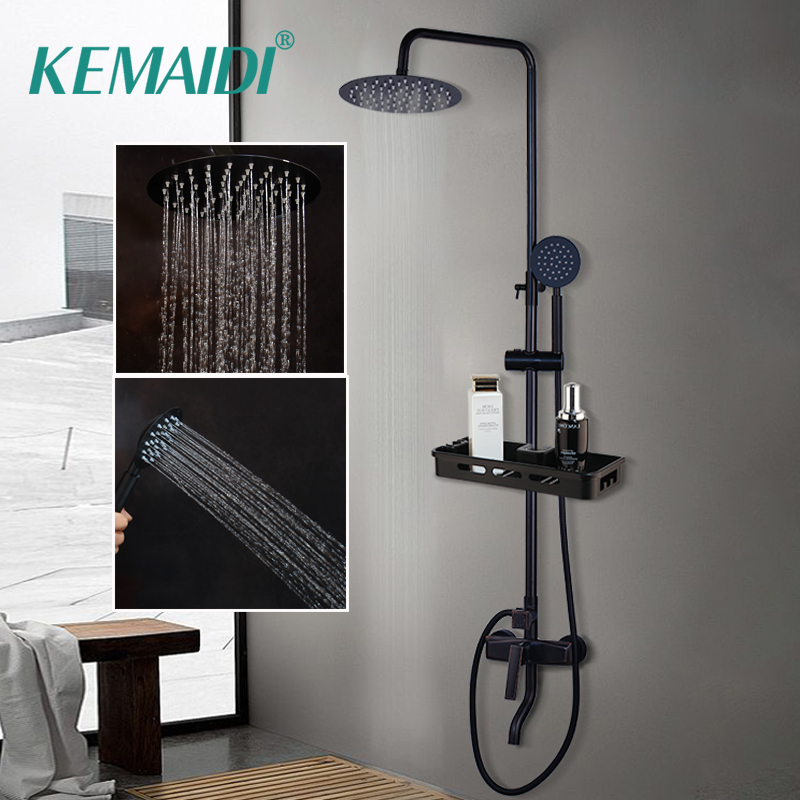 KEMAIDI Bathroom Shower Mixer Tap Black Rainfall Shower Faucets Set Single Lever Bathtub Shower Mixer Faucet with Storage Shelf