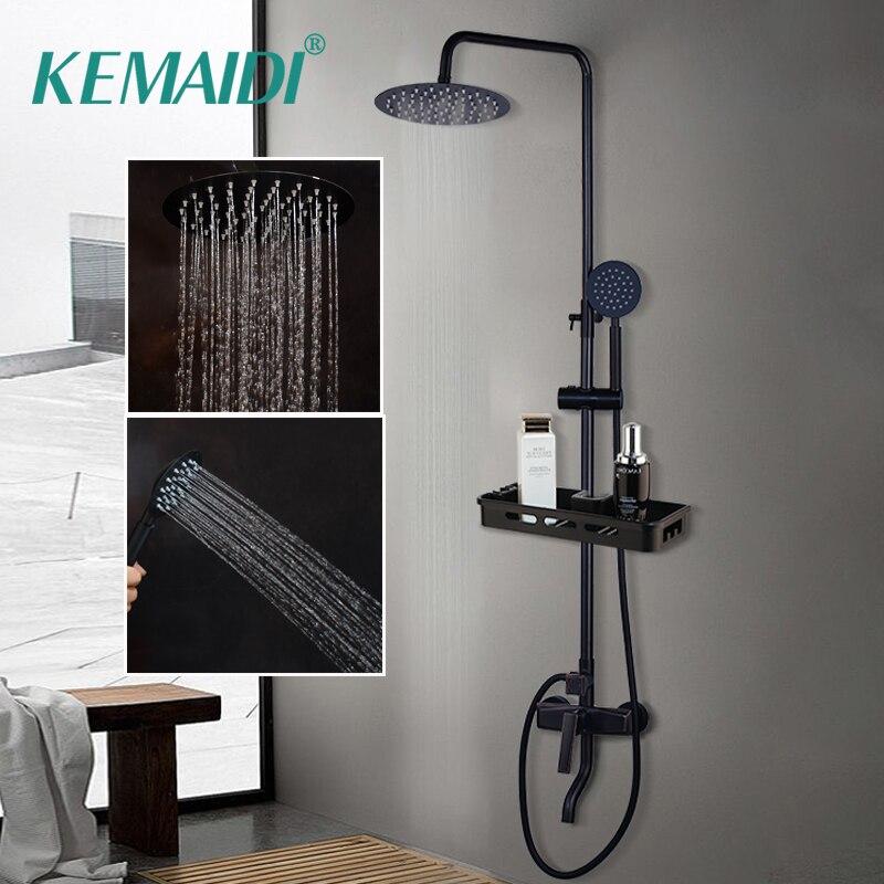 KEMAIDI robinet mitigeur de douche de salle de bain noir pluie robinets de douche ensemble mitigeur de douche de baignoire mitigeur avec étagère de rangement