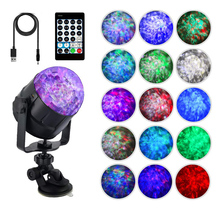 USB 5V IR Remote 15Colors Water Wave Magic Rotating Ball Stage Lights Sound Activated KTV DJ light disco Holiday Party car light