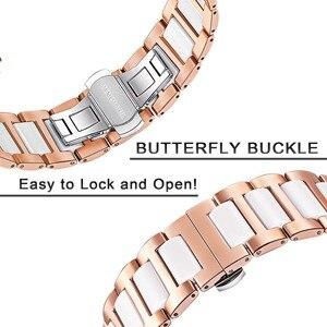 Image 4 - Cerâmica + pulseira de aço inoxidável para garmin vivomove hr 3 3 s/vivoactive 4 4S/venu luxe estilo liberação rápida pulseira relógio