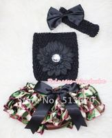 Camouflage Patterns Layer Panties Bloomer With Black Flower Crochet Tube Top And Bow Headband 3PC Set