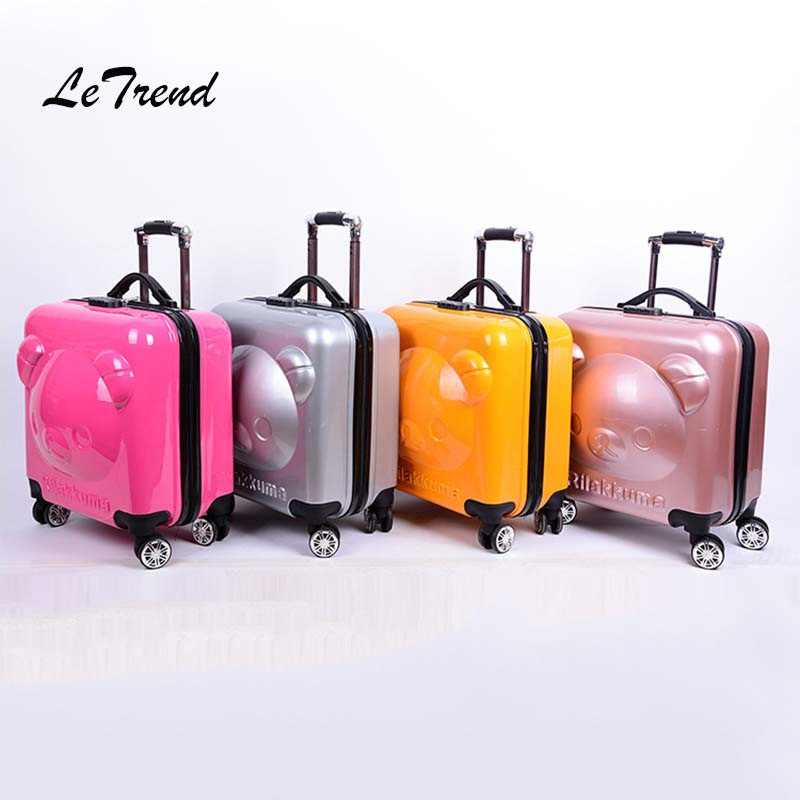 Letrend 18 inch 3D cartoon bear Rolling Luggage Spinner Children Suitcases Wheels Kids Cabin Trolley Travel Bag Babys TrunkLetrend 18 inch 3D cartoon bear Rolling Luggage Spinner Children Suitcases Wheels Kids Cabin Trolley Travel Bag Babys Trunk