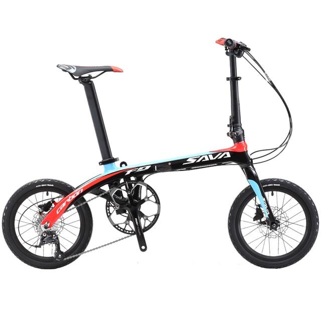 Folding Bike Sava 16 Inch Carbon Fiber Frame Children Mini City Foldable Bicycle With Shimano Sora
