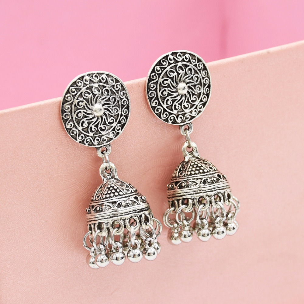 Gypsy Afghan Jewelry Retro Ethnic Silver Indian Jhumka Small Bells Beads Drop Tassel Earrings for Women Bohemian Pendiente Gift 5
