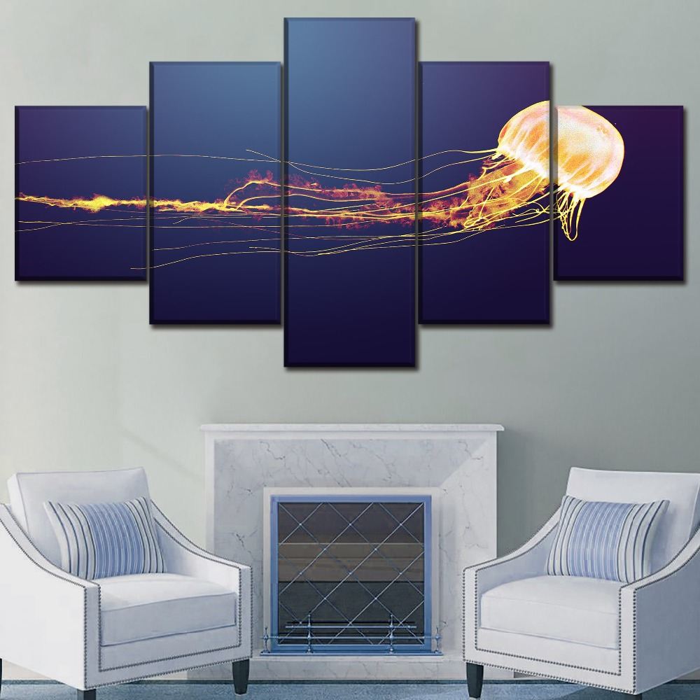 Canvas Paintings Wall Art HD Prints Picture Home Decor Framework 5 Pieces Jellyfish Animal Poster Modern Printing Type Artwork