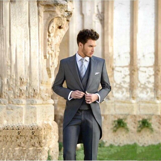 a1c58d3e3a Custom Made Groom Tailcoat Grey Italian Formal Men Blazer Mens Wedding  Suits Slim Fit Groomsmen Bridegroom Male Suit 3 Pieces