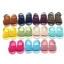 11 Color Fashion Unisex Summer Handmade Soft Bottom Tassels PU leather Sandals Shoes Newborn Baby Soft Baby Hook & Loop Sandals