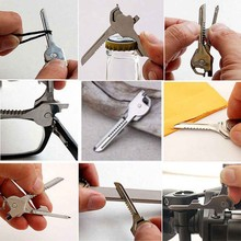 6 in1 Stainless Steel EDC Multi tool Keychain Utiliity Camping Swiss Pocket Survival Knife