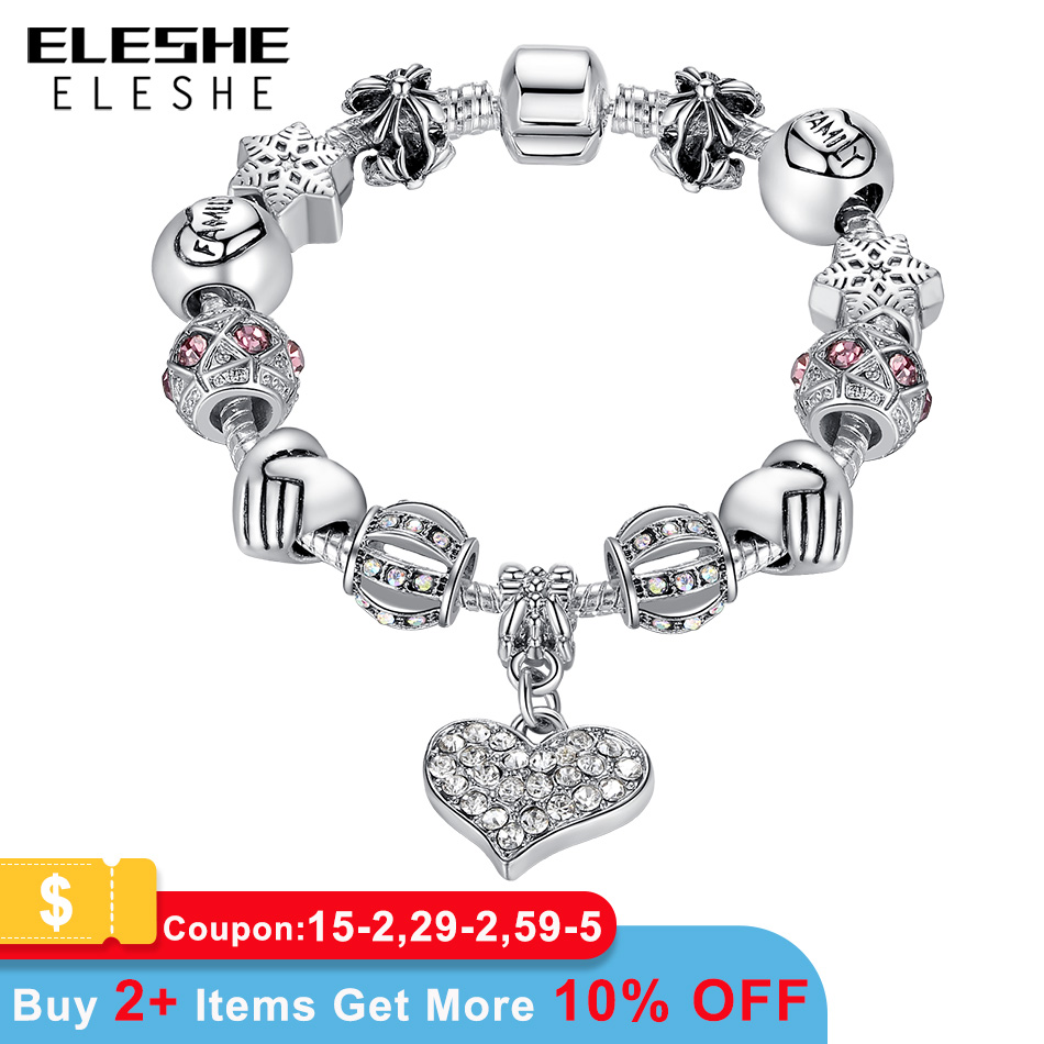 ELESHE Luxury Brand Women Bracelet Silver Plated Crystal Charm Bracelet for Women DIY 925 Beads Bracelets & Bangles Jewelry Gift
