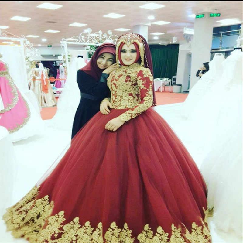 14c6cd31b6 2019 Red Ball Gown Wedding Dress Muslim Bridal Gowns Long Sleeve Gold  Appliques Vestido De Novia
