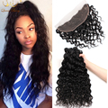 Queen Berry Brazilian virgin hair water wave lace frontal closure with bundles wet and wavy virgin Brazilian hair weave