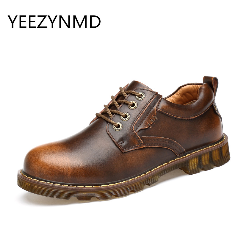 2017 NEW Genuine Leather Shoes British Style Casual Shoes Men Boat Oxford Spring Aumtum Lace-Up Non-Slip Work Shoes Black Brown cimim spring autumn brand genuine leather shoes british style handmade male lace up fashion shoes men casual flats shoes for men