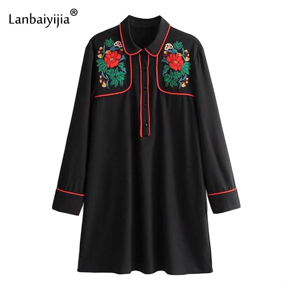 Lanbaiyijia 2018 printemps date broderie fleurs patchwork robe à manches longues col rabattu lâche a-ligne robes femmes robe
