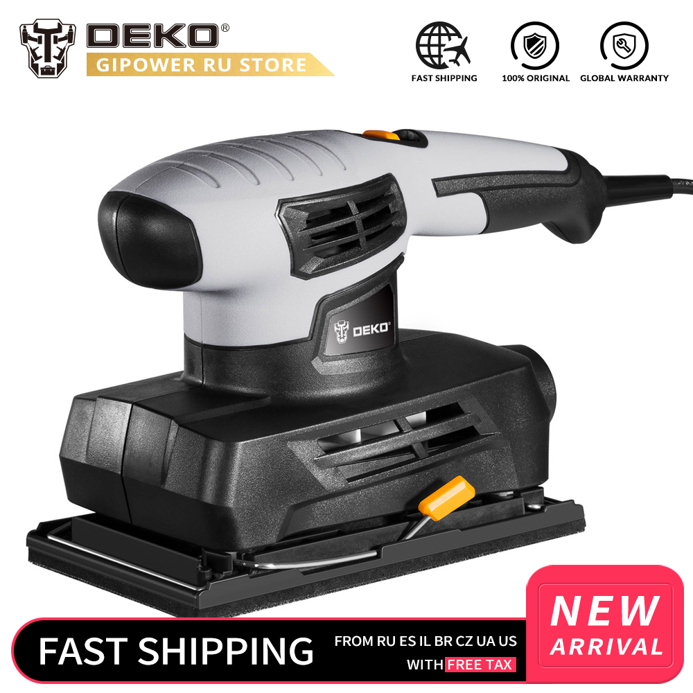 DEKO QD6520B 230V Sheet Sander With 15pcs Sandpaper And Dust Exhaust 160W Electric Sander Home DIY Power Tool For Woodworking