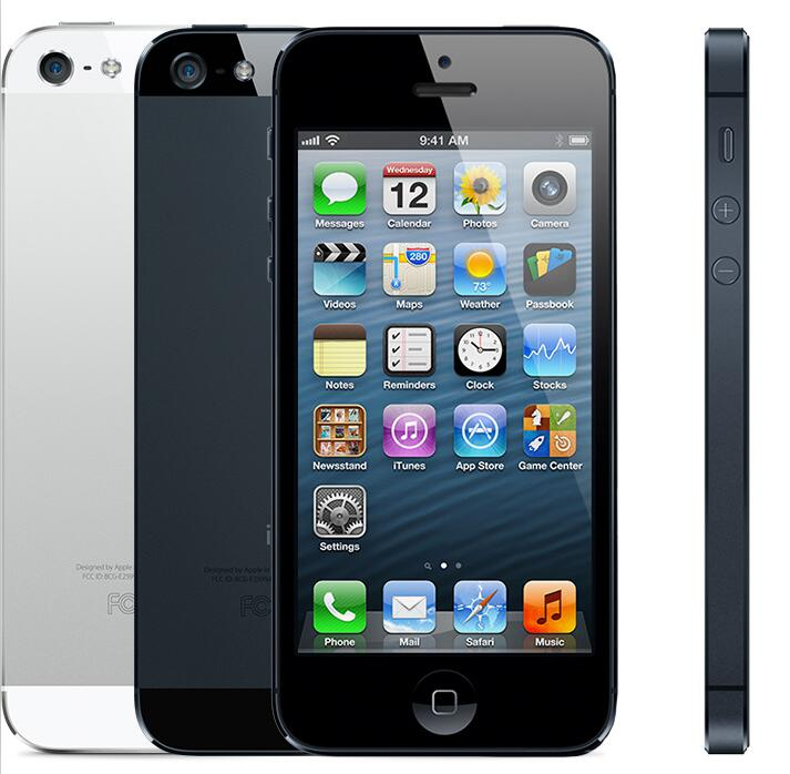 Original Unlocked IPhone 5 16GB/32GB/64GB ROM Dual-core 3G 4.0 Inches Screen 8MP Free ICloud WIFI GPS IOS OS Cell Phones Used