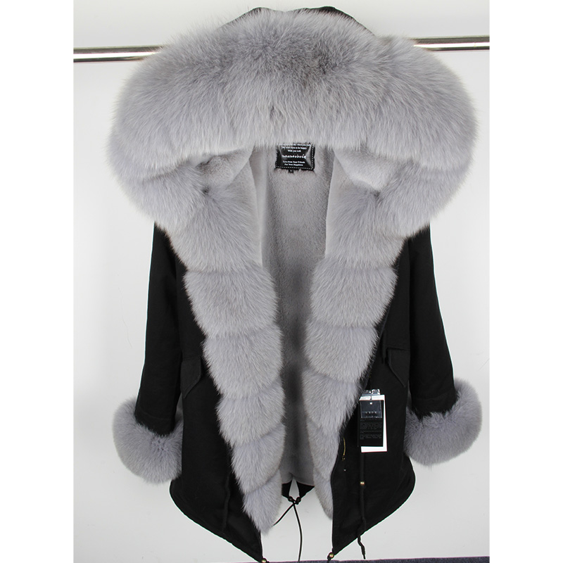 MaoMaoKong natural real fox fur Jacke coat Real Fox Fur Collar Cuff Hooded Coat Short Parka