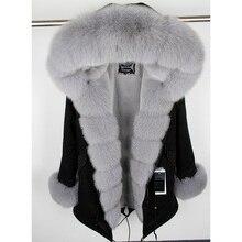 MaoMaoKong куртка из натурального Лисьего меха, пальто с воротником из натурального Лисьего меха, пальто с капюшоном, короткая парка, длинная камуфляжная зимняя куртка