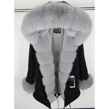 Maomaokong Mulher Parkas Coat Hooded Women's Jacket Real-Fox-Fur-Jacket Natural Winter Warm