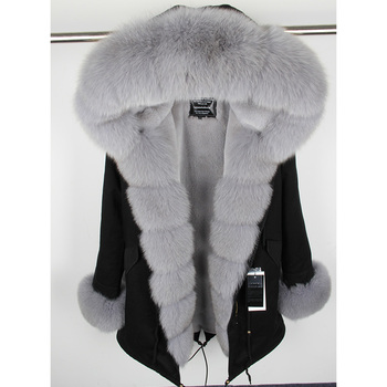 MaoMaoKongNatural Real Fox fur Jacket Hooded  Woman parkas Winter warm Coat  Mulher Parkas Women's jacket