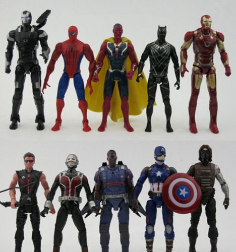 10 pcs / set Avengers Iron Man Batman Winter Soldier Captain action figures Toy Anime Figure Collectible Model Toy