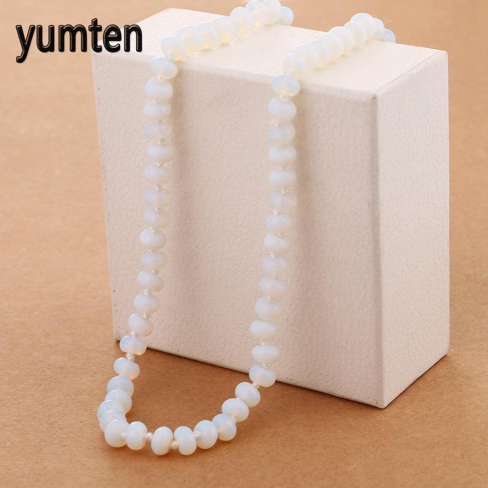 Yumten Opal Necklace Power Natural Crystal Round Stone Jewelry Women Jewelry Gift Wonder Woman Sautoir Pokemon Novidades Music