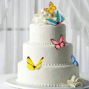Image 2 - 42 sztuk mieszane motyl jadalne kleisty wafelek z papieru ryżowego Butterfly ciasto Cupcake wykaszarki urodziny tort weselny dekoracji