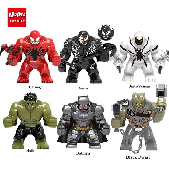 Super-heróis Da Marvel LEGOED Tamanho Grande Venom Avengers Batman Hulk Grande Carnificina Grinch brinquedo Tijolo figuras Blocos de construção para o miúdo