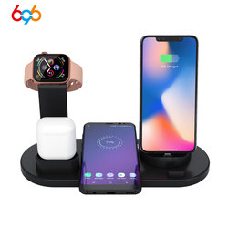 696 3 в 1 устройство для быстрой зарядки Pad наушники Беспроводное зарядное устройство подставка держатель для IPhone X для samsung для наушников