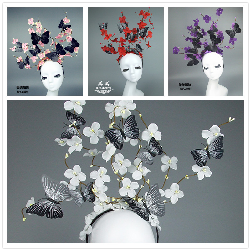 Handmade Large Butterfly Head Band France Women Branch Plant Hairband Cocktail Party Show Ladies Butterfly Headband   Headwear   New